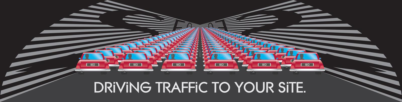 SEO que conduz o tráfego a sua ilustração do Web site ilustração stock