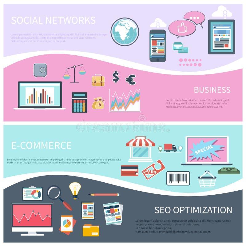 Seo, réseau social, commerce électronique, affaires plates illustration libre de droits