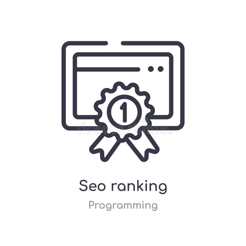Seo ranking outline icon. isolated line vector illustration from programming collection. editable thin stroke seo ranking icon on. White background stock illustration