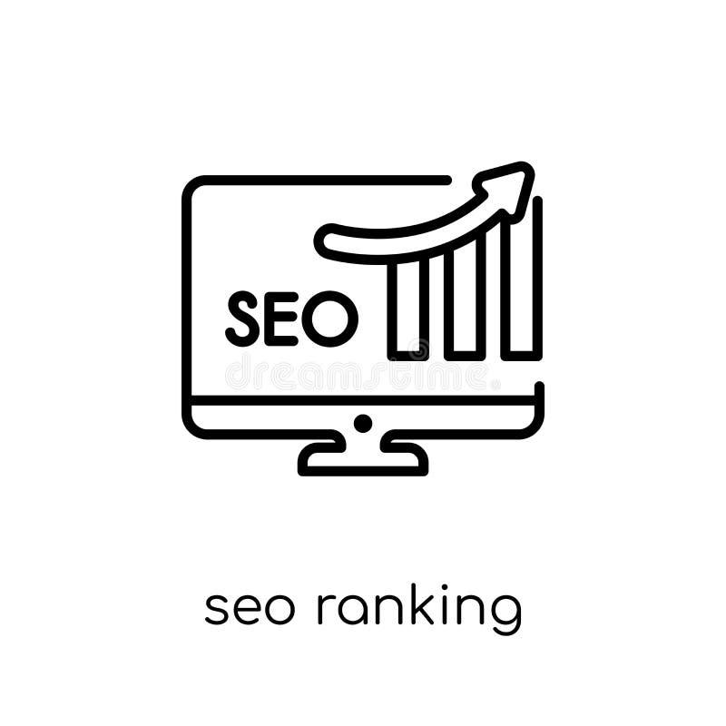 SEO rankingu ikona Modny nowożytny płaski liniowy wektoru SEO ranking ja ilustracji