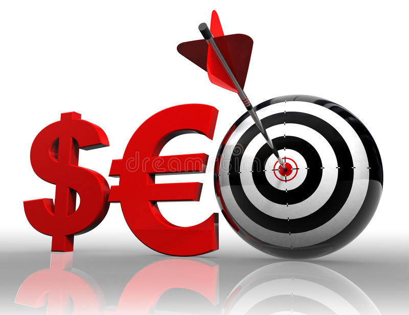 Seo red word with dollar euro and target vector illustration