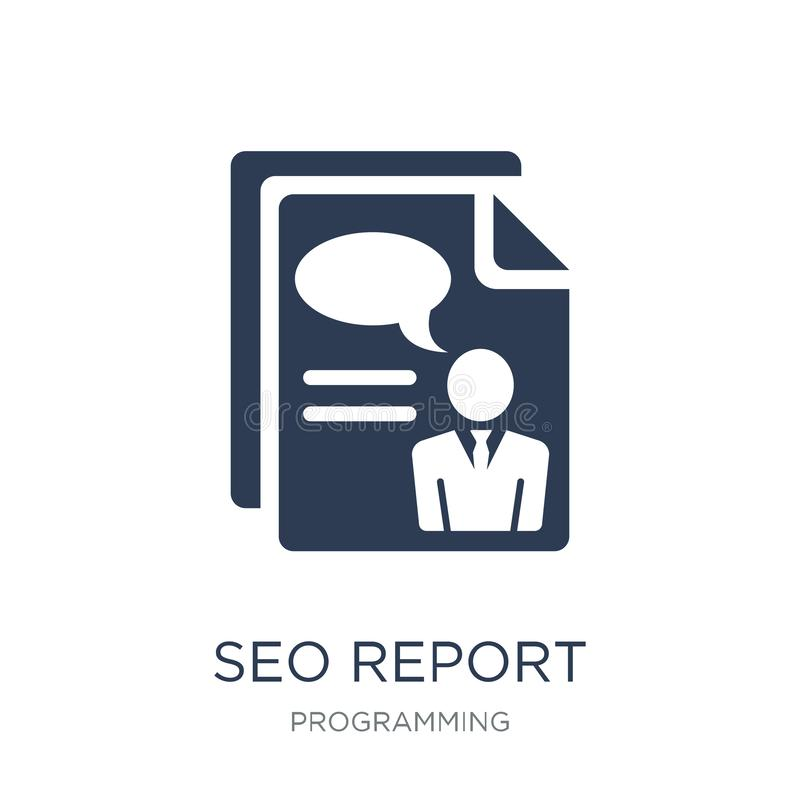 SEO report icon. Trendy flat vector SEO report icon on white background from Programming collection. Vector illustration can be use for web and mobile, eps10 royalty free illustration