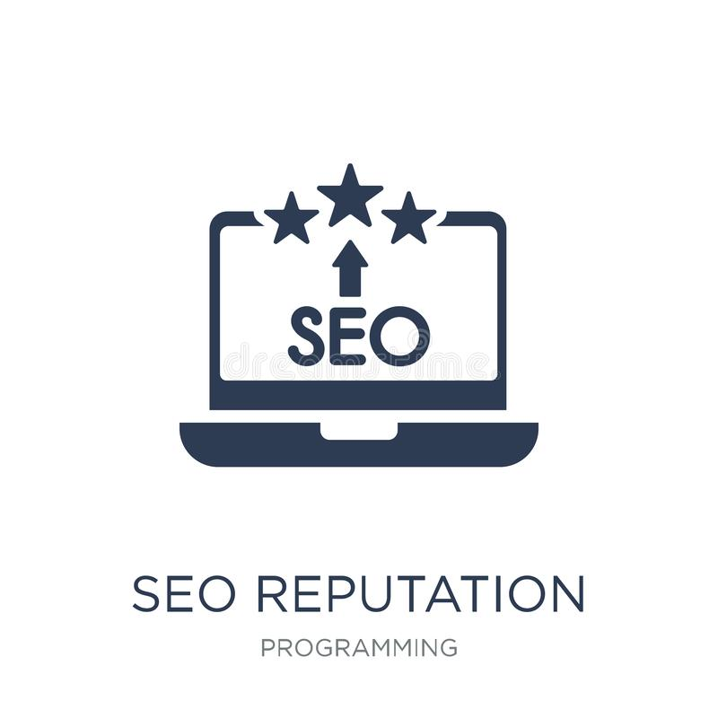 SEO Reputation icon. Trendy flat vector SEO Reputation icon on w stock illustration