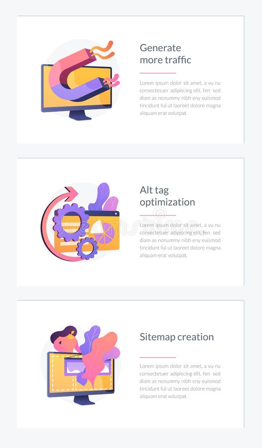SEO results webpage template. Website promotion services icons set. Search engine optimization business. Generate more traffic, alt tag optimization, sitemap royalty free illustration
