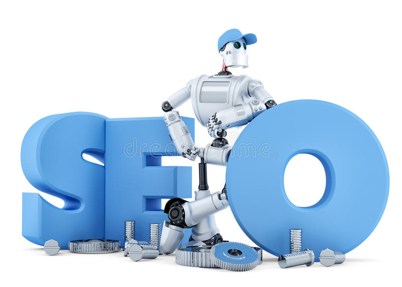 SEO Robot. Technology concept. . Clipping path vector illustration