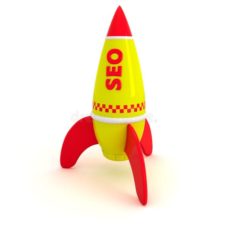 SEO rocket. Red word SEO written on the yellow rocket stock illustration