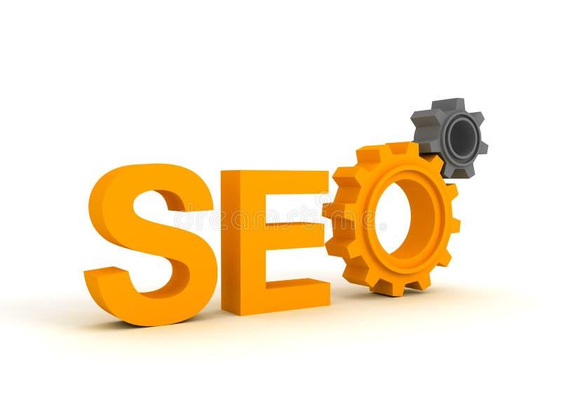 SEO - Símbolo del Search Engine con los engranajes libre illustration