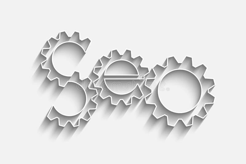 SEO - Símbolo del Search Engine con los engranajes stock de ilustración