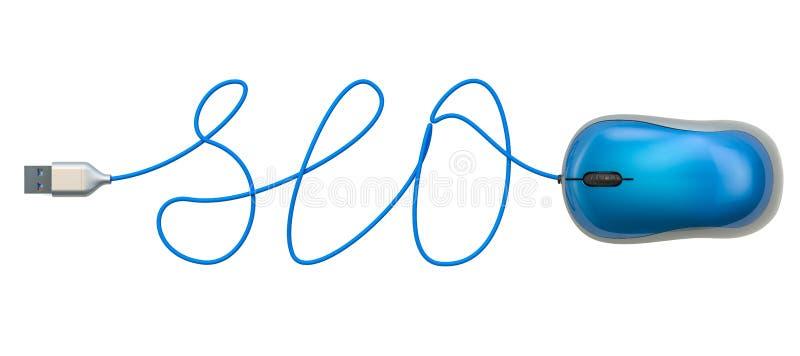 SEO słowo od komputerowego mysz kabla, 3D rendering royalty ilustracja