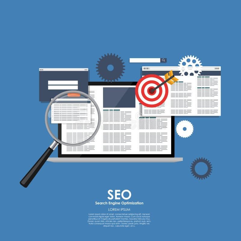 SEO Search Engine Optimazation Vector illustration Plan computi vektor illustrationer