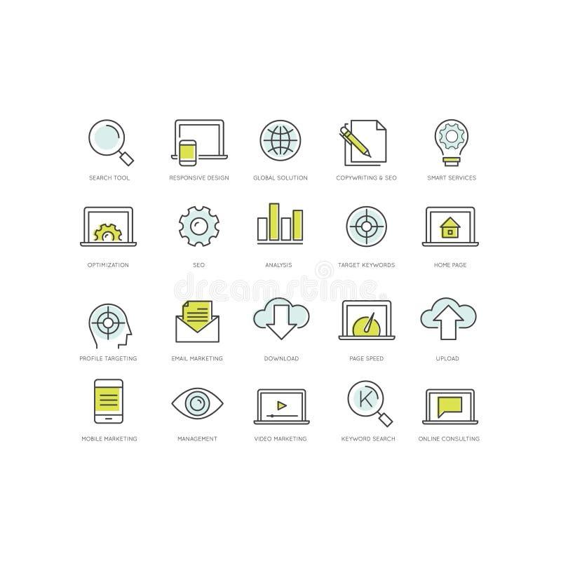 SEO Search Engine Optimisation och socialt nätverksmassmedia som marknadsför begrepp vektor illustrationer