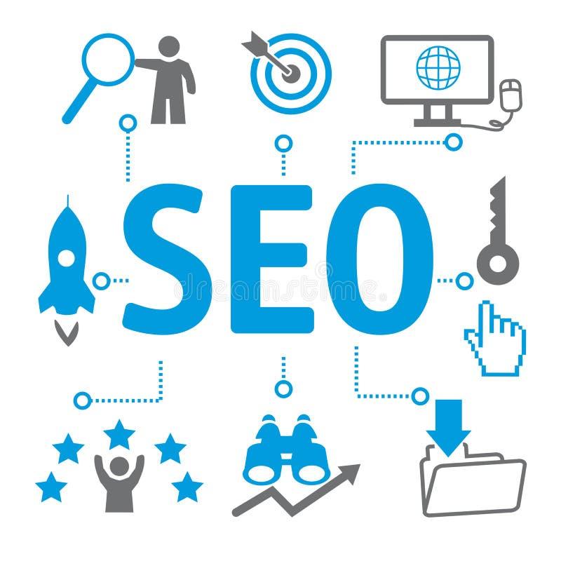 SEO Search Engine Optimization, algorithme de rang - icônes et sy illustration libre de droits