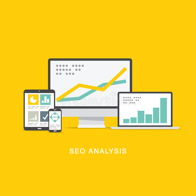 SEO search engine optimization analysis stock illustration