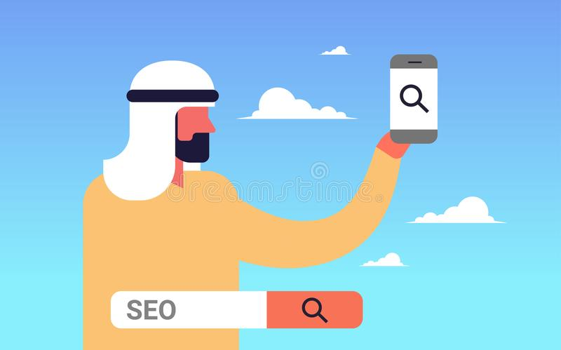 Seo search engine optimization arabic man using smartphone internet searching concept process flat horizontal. Vector illustration vector illustration