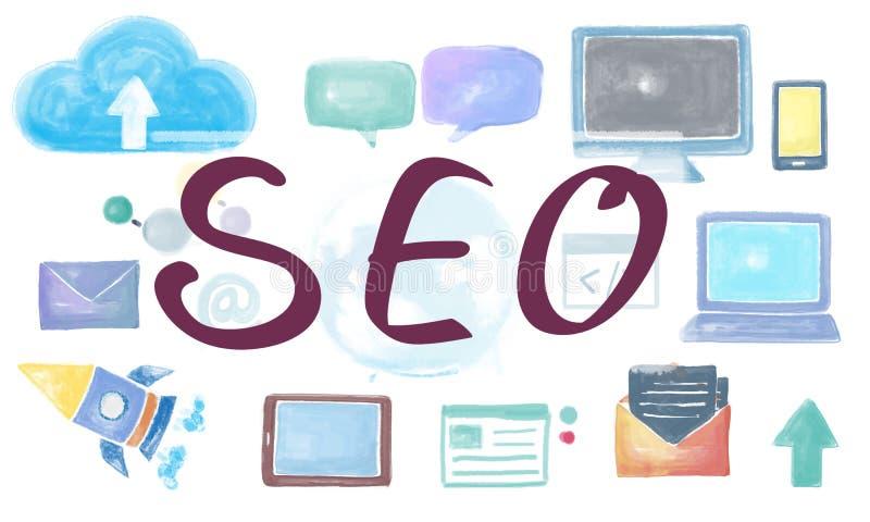 SEO Search Engine Optimization Browsing que busca concepto stock de ilustración