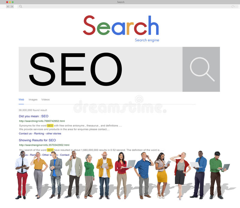 SEO Search Engine Optimization Business Marketing Concept stock image