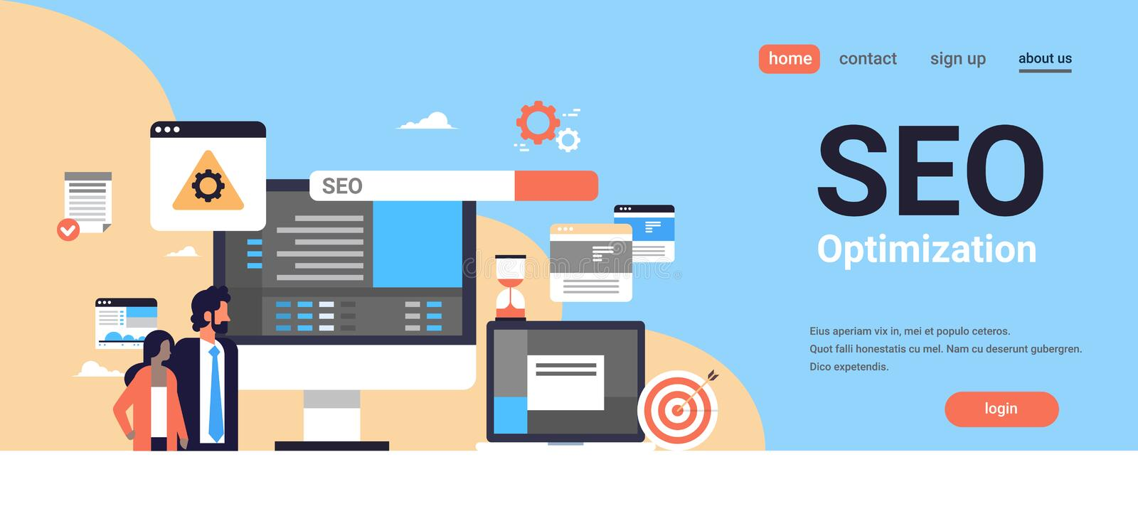 Seo search engine optimization couple man woman monitoring internet searching concept process flat horizontal banner. Copy space vector illustration vector illustration