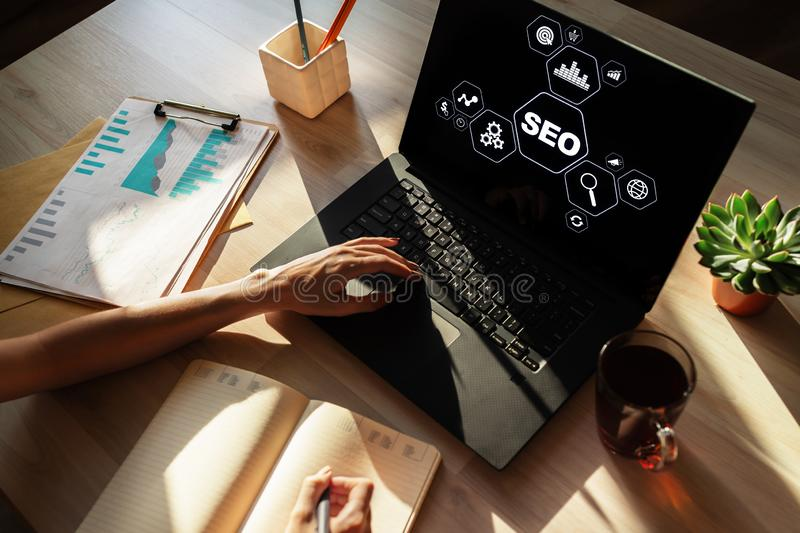 SEO - Search engine optimization. DIgital marketing concept on screen. stock photos