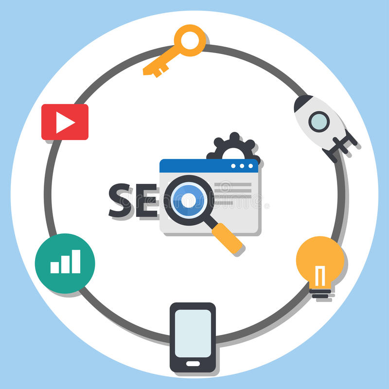 SEO Search engine optimization flat design infographic element stock illustration