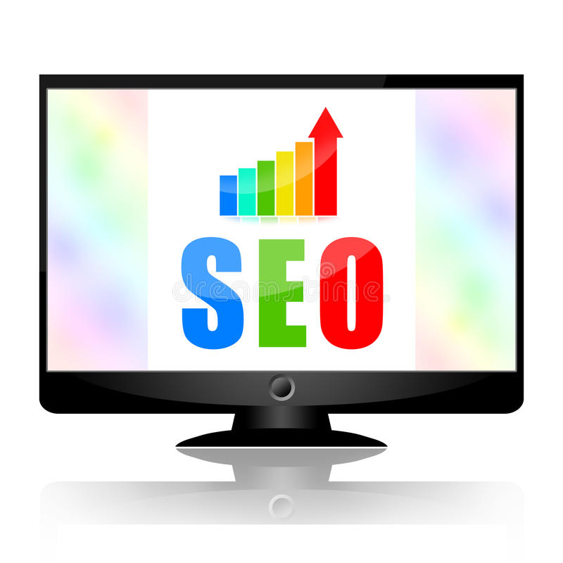 Seo. Search engine optimization and growing business stats on computer monitor screen on white background royalty free illustration