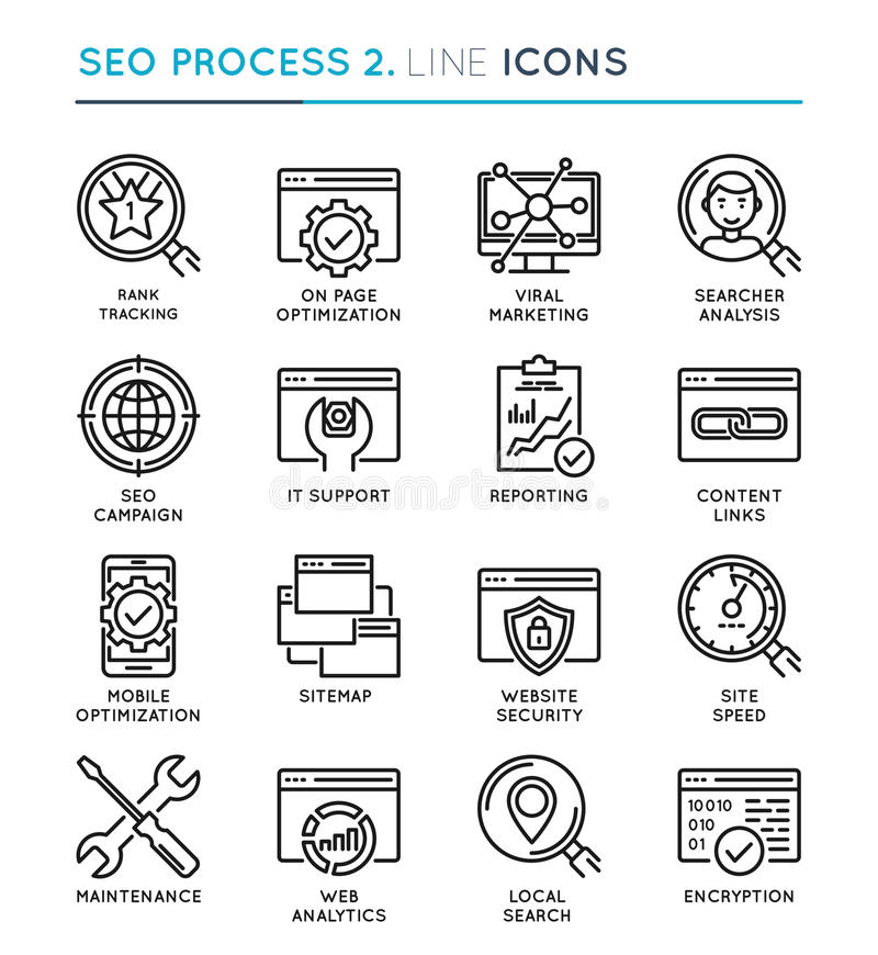SEO Search Engine Optimization-het pictogramreeks van de proces dunne lijn edita royalty-vrije illustratie