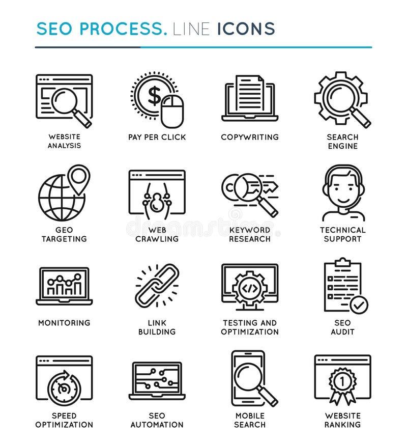SEO Search Engine Optimization-het pictogramreeks van de proces dunne lijn edita vector illustratie