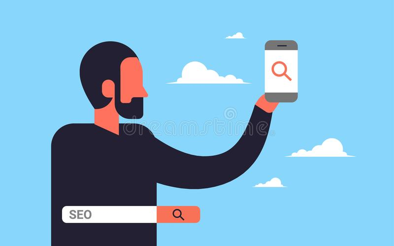 Seo search engine optimization man using smartphone internet searching concept process flat horizontal. Vector illustration vector illustration