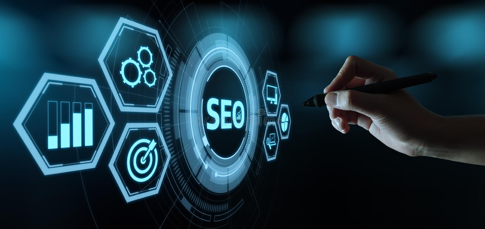 SEO Search Engine Optimization Marketing Ranking Traffic Website Internet Business Technology Concept.  royalty free stock photography