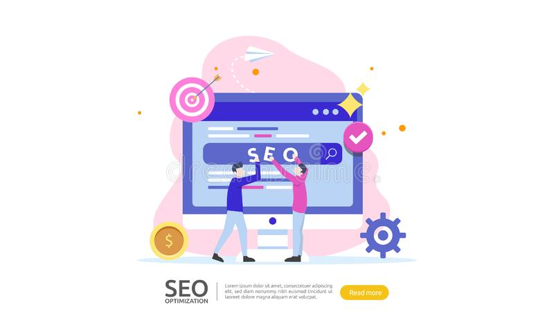 SEO Search engine optimization result concept. website ranking, advertising, strategy idea people character. web landing template. Banner, presentation, social royalty free illustration