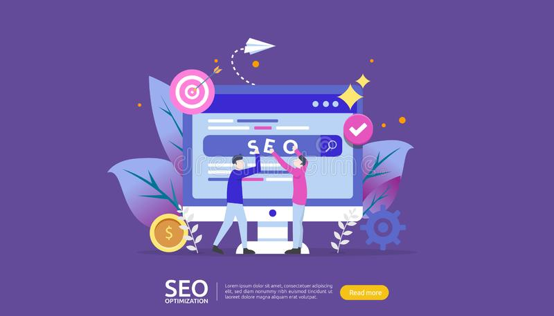 SEO Search engine optimization result concept. website ranking, advertising, strategy idea people character. web landing template. Banner, presentation, social stock illustration