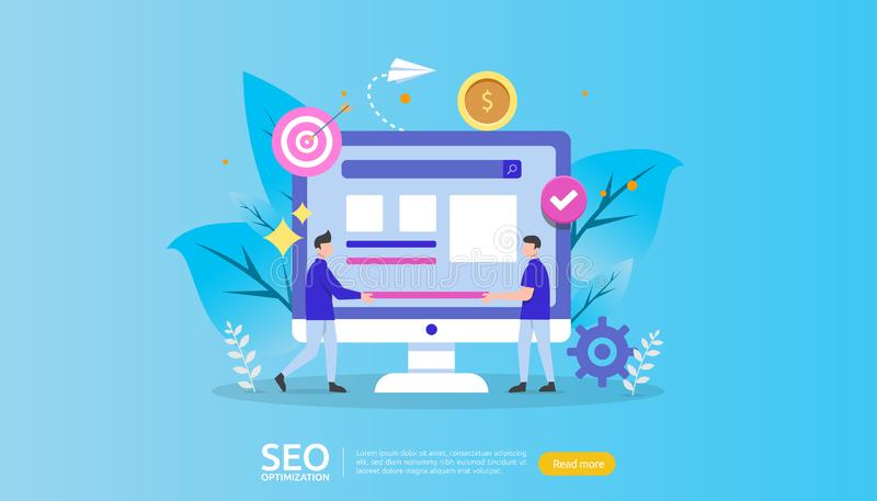 SEO Search engine optimization result concept. website ranking, advertising, strategy idea people character. web landing template. Banner, presentation, social vector illustration