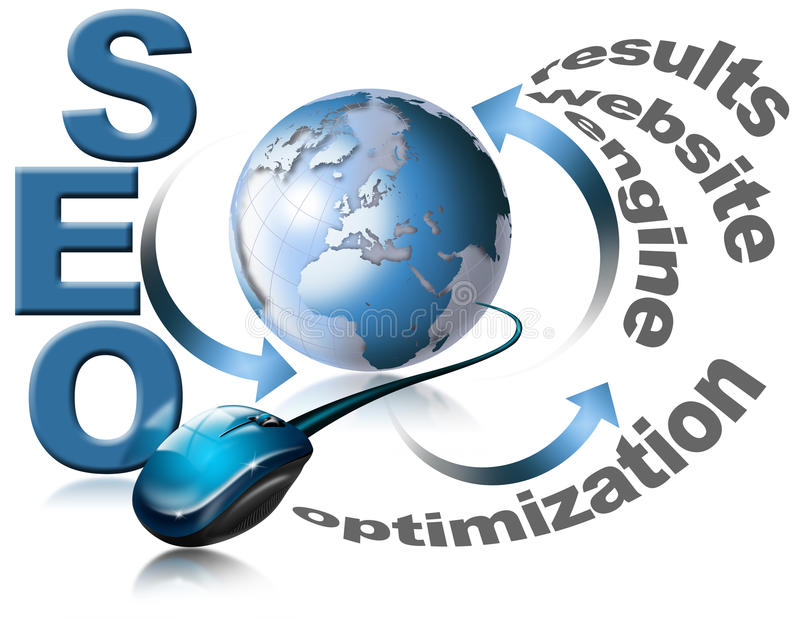 SEO - Search Engine Optimization Web. Illustration with globe, mouse and written SEO - Search Engine Optimization Web