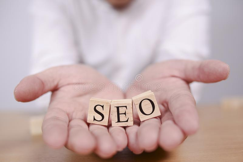 SEO Search Engine Optimization. Words Typography Concept stock photo