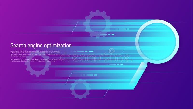SEO Search-Maschinenoptimierung, Datenanalyse, Informationen proce lizenzfreie abbildung