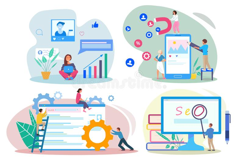 SEO SEM SMM SMO concepts. People using devices for advertising and optimizing websites and social network profiles. Using devices for increasing traffic. Flat royalty free illustration