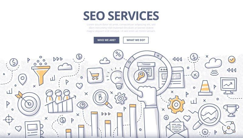 SEO Services Doodle Concept royalty-vrije illustratie