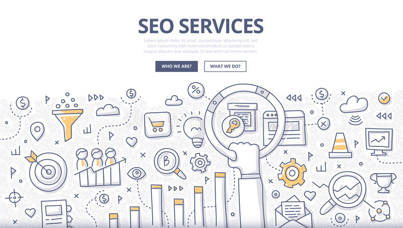 SEO Services Doodle Concept. Doodle design style concept of SEO optimization, web marketing, web technologies. Modern line style illustration for landing hero royalty free illustration