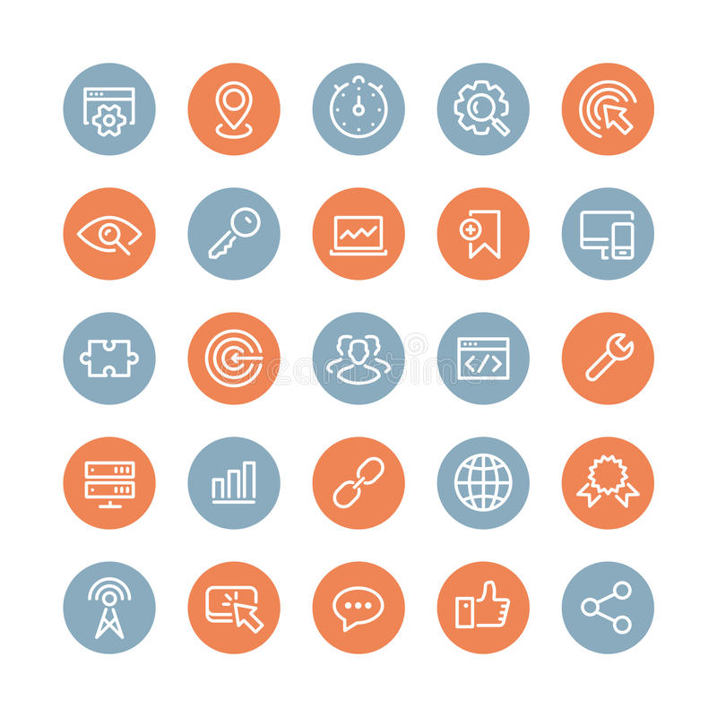 SEO services flat icons set stock illustration