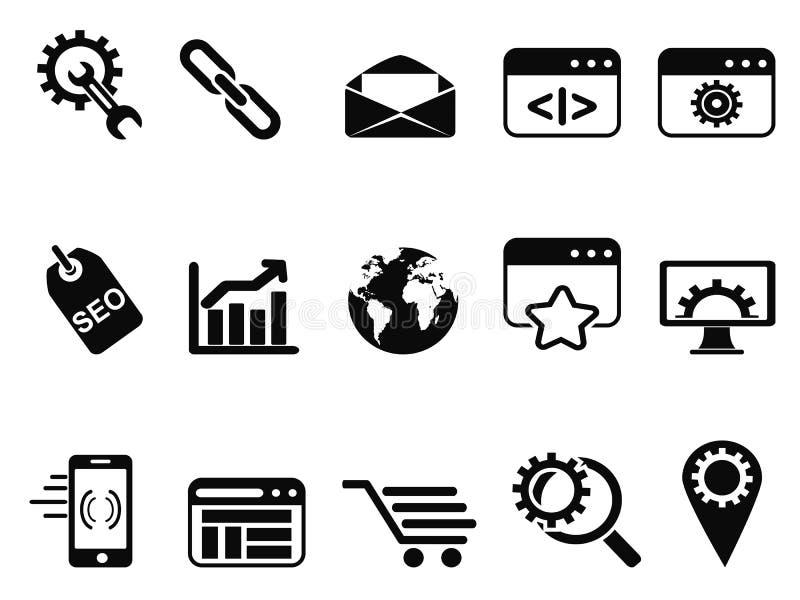 SEO Services-geplaatste pictogrammen stock illustratie