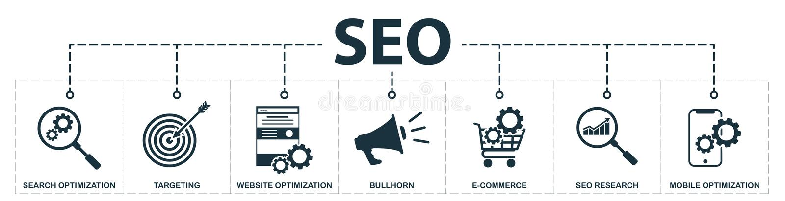 Seo set icons collection. Includes simple elements such as search optimization, keywords, bullhorn, e-commerce optimization, stock illustration