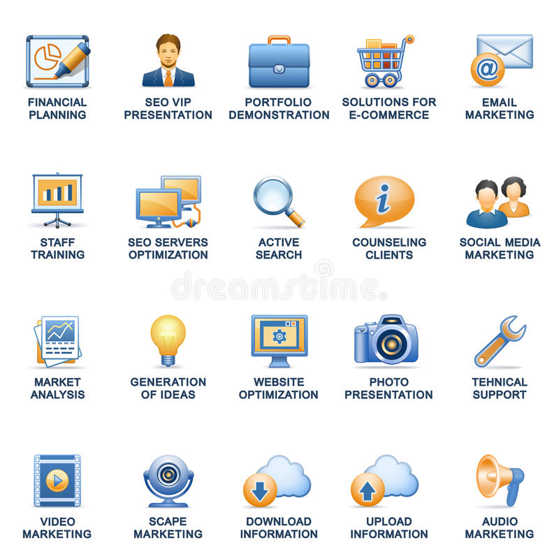 SEO sieci ikon błękitne pomarańczowe serie. ilustracja wektor