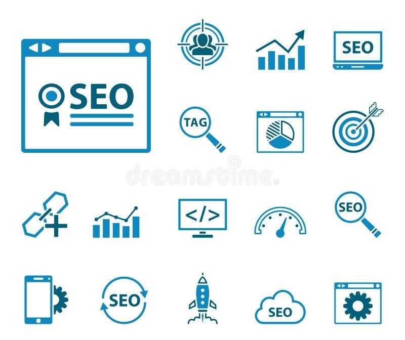 Seo - sieci ikony set ilustracja wektor
