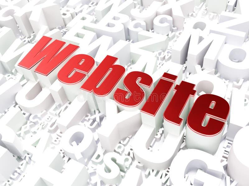 SEO sieci projekta pojęcie: Strona internetowa na abecadła tle ilustracji