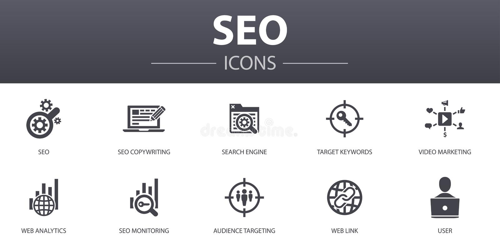 SEO simple concept icons set. Contains royalty free illustration