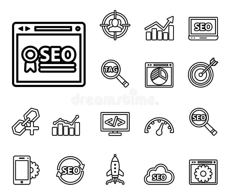 Seo - sistema del icono de la web stock de ilustración