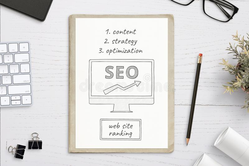 SEO sketch goals on white paper. royalty free stock photography
