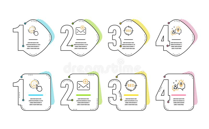 Seo, Smile and New mail icons set. Idea sign. Search target, Positive feedback, Add e-mail. Solution. Vector stock illustration