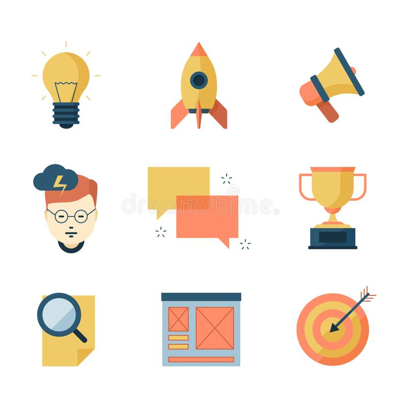 Seo smm business icons. Brainstorming communication campaigns marketing strategy vector symbols flat collection. Seo strategy brainstorming and solution vector illustration
