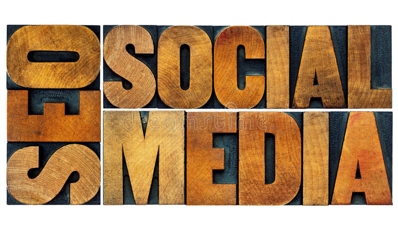 SEO and social media word abstract royalty free stock photography
