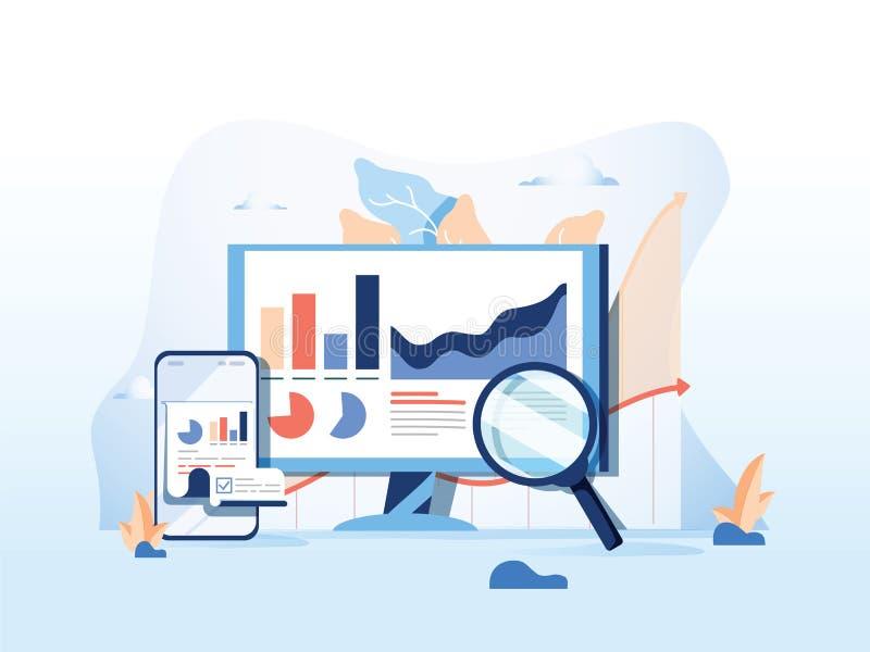 SEO som framlänges anmäler, dataövervakning, rengöringsduktrafikanalytics, stor vektorillustration för data på blå bakgrund royaltyfri illustrationer